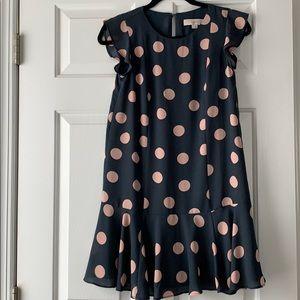 LOFT Grey and pink polka dot dress
